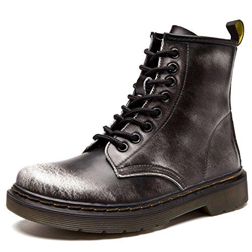 Damen Martin Stiefel Derby Wasserdicht Kurz Stiefeletten Winter Herren Worker Boots Profilsohle Schnürschuhe Schlupfstiefel,Ungefüttert/Grau 43 EU