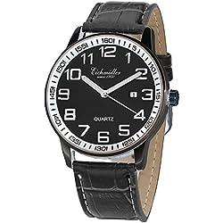 Eichmüller Premium Watch Edelstahl Herrenuhr mit Lederband Schwarz, Kaliber Miyota 2115, mit Uhrenbox
