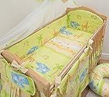 Bettwäsche-Set, 5-teilig, für Babybettchen, Bettumrandung: 120 x 60 x 360 cm; Motiv: Safari/Dschungel