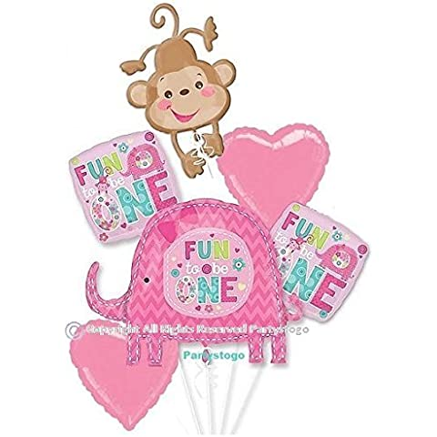 ONE WILD GIRL 1ST BIRTHDAY BALLOONS BOUQUET DECORATIONS SUPPLIES FUN TO BE ONE ELEPHANT MONKEY by Anagram
