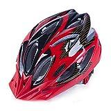 LBY Herren/Damen Fahrradhelm 18 Vents, 57-62cm, Leichtgewicht, schlagfestes EPS, PP Materialregler, Rennrad/Mountainbike Dual Purpose Helme, Red Black