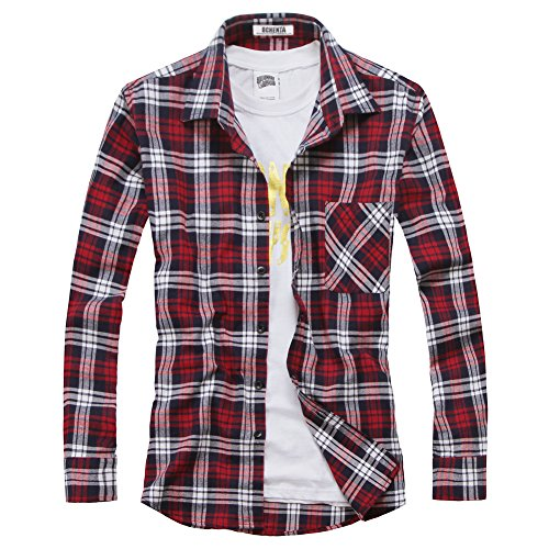 Ochenta - camicia casual - maniche lunghe - a quadri flanella - uomo n039 red white asian 2xl - italiana xl