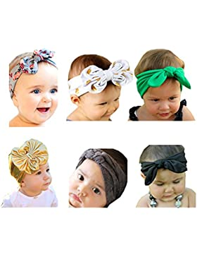 Emitha 6 piezas Recién nacido y bebés del pelo de la venda Bebé flor pelo diadema