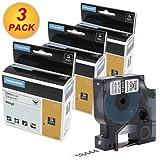 3 Roll-kompatible Kassette schwarz auf weiß für DYMO 18444 S0718600 Rhino Industrial Vinyl Labels 12 mm x 5,5 m selbstklebend Patrone für 1000 3000 4200 5000 5200 6000 DYMO Rhino Printers