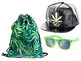 Hipster Festival Outfit Snapback Cap Nerd Brille schwarz Cannabis Kiffer Rucksack Marihuana Outfit Hip 6 von Alsino