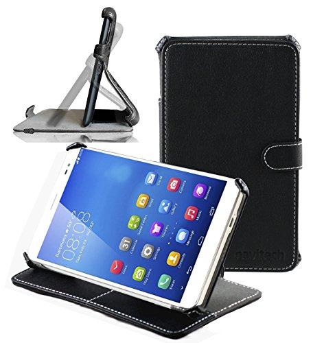 Navitech schwarzes premium leder Case / Cover / Hülle mit Standfunktion speziell für das Huawei MediaPad X1