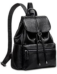 UTO Fashion Shoulder Bag Rucksack PU Leather Women Girls Ladies Backpack School Travel Bag Black