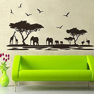WandSticker4- Wandtattoo SAVANNE schwarz   Wandbild: 160x75 cm   Wandaufkleber Safari Afrika Tiere Elefant Giraffe Baum Landschaft   Wand Deko für Wohn-Schlafzimmer Kinderzimmer Küche Flur GROSS