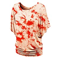 Lock and Love WT1064 Womens Short Sleeve Tie-Dye Oversized Draped Top XXXL White_Coral