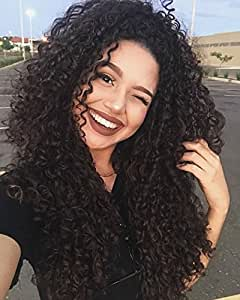 Synthetic Wigs Jerry Curl Black Brazlian Human Hair Lace Front Curly Wig for Women