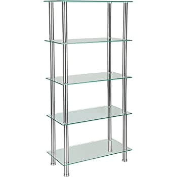 Glass Shelving Unit Bookcase 5 Tier with Chrome Legs Table Shelf Rack For  Living Room Furniture (Clear)