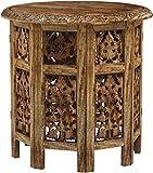 Marrakesch Orient & Mediterran Interior Mesa marroquí, Consola Auxiliar de Madera Ashkar Marrón 45cm Redonda - Mostrador de té Oriental - Bandeja Plegable es Oriental en marrón, como Mesa de luz