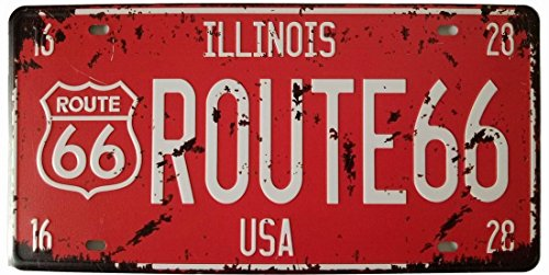 eureya USA Route66 Nummernschild Blechschild Vintage Metall Schild Poster Bar Pub Home Wand-Decor 15,2 x 30,5 cm