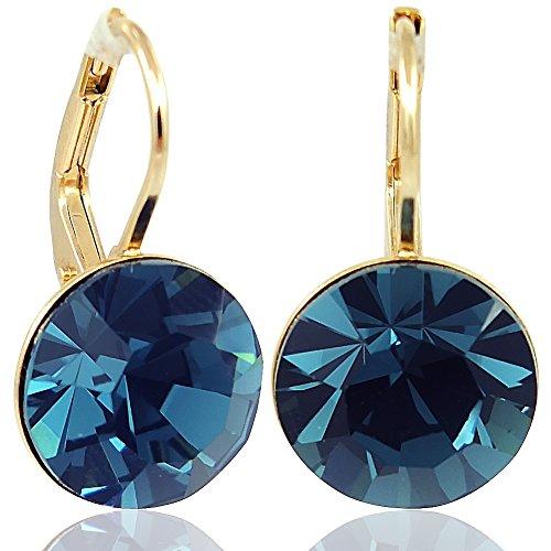 Ohrringe mit Kristalle von Swarovski® Blau Gold NOBEL SCHMUCK