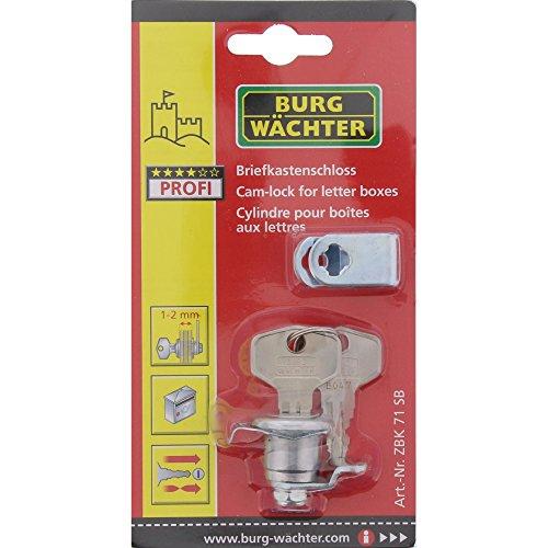 Burg-Wächter Ersatzzylinder für Briefkästen, Hebelschloss, für Materialstärke von 1 bis 2 mm, verchromt, ZBK 71 SB, 1 Stück - 5