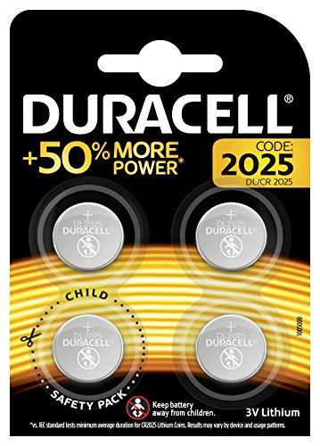 Duracell Specialty 2025 Lithium-Knopfzelle 3V, 4er-Packung (CR2025 /DL2025) entwickelt für die Verwendung in Schlüsselanhängern, Waagen, Wearables und medizinischen Geräten.