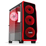 EMPIRE GAMING - Boitier PC Gamer DarkRaw Noir - 4 Ventilateurs LED Rouge 120 mm - Paroi latérale 100% Transparente - Compatible ATX/mATX / mITX