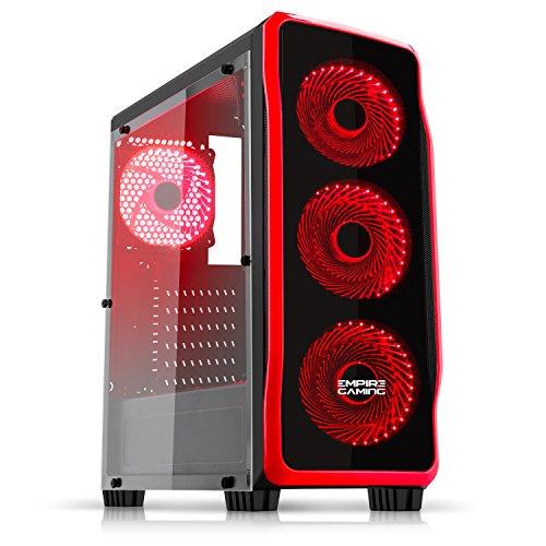 EMPIRE GAMING - Boitier PC Gamer DarkRaw Noir - 4 Ventilateurs LED Rouge 120 mm - Paroi 100% Transparente - Compatible ATX/mATX/mITX