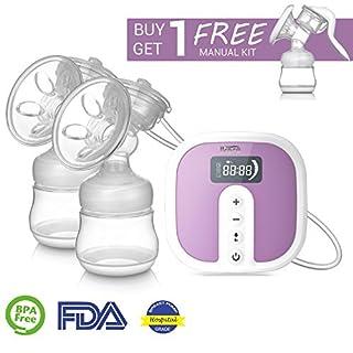 Milchpumpe Doppelte elektrische, tragbare IKARE Krankenhaus-Grad Doppel-Milchpump, super leise, leicht zu waschen, leicht und wiederaufladbare Pumpe für unterwegs für Mama während der Arbeit, auf Reisen und Zuhause, überall und jederzeit (45 Saugstufen, FDA genehmigt, BPA frei)