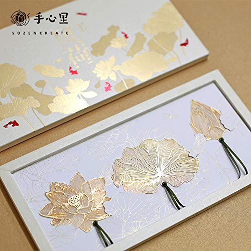 Wind Lotus Gold-plated Bookmark Creative Literature and Art Hollow-out Bookmark, gift set