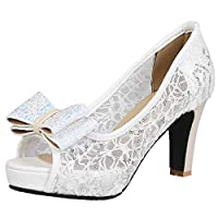 Vitalo Womens Lace Peep Toe Platform Pumps with Bow High Block Heel Court Shoes Size 8UK,White