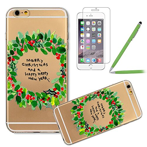 iPhone 6 plus Silikonhülle - Felfy Ultra Dünnen Weiche Gel Druck Liebe grün und rosa Anker Muster TPU Back Case Cover Tasche Etui für Apple iPhone 6 plus 5.5 Zoll + 1x Black Stylus + 1x Displayschutz #19