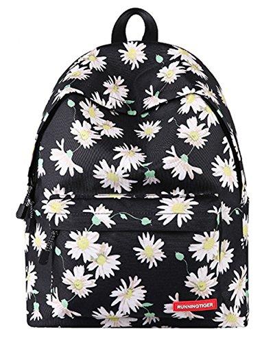 Schultasche für Teenager Leichte beiläufige Daypack Leinwand Tupfen Leichte zufällige Rucksack Laptop-Tasche (Floral5) Schwarz
