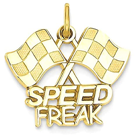 IceCarats 14k Yellow Gold Racing Flags Speed Freak Pendant Charm Necklace Sport