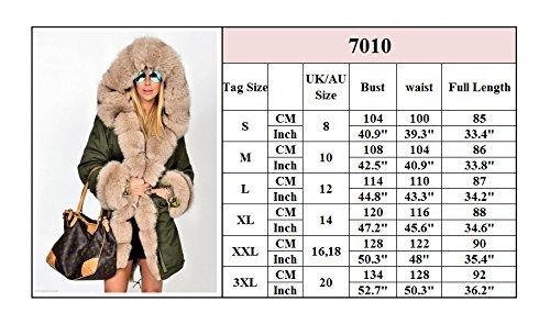 Roiii Mujer abrigo de invierno Parka de pelo chaqueta acolchada larga con capucha  Abrigo 92e1c1cf1c98