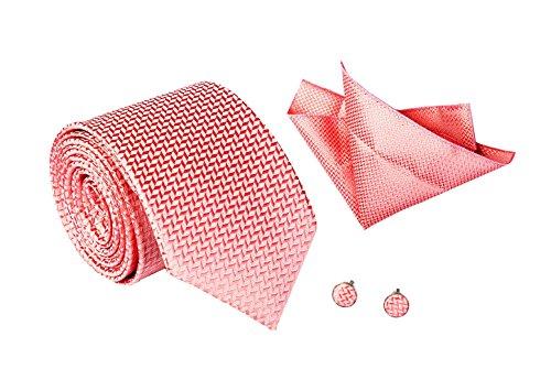 Herren Hochwertiges Krawatten Set Schmale Krawatte mit Einstecktuch und Manschettenknöpfe für Geschäft Hochzeit Feierlicher Anlass - Edel und Schick - Rosa