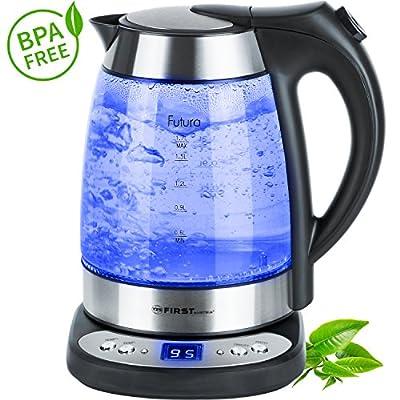 Bouilloire en verre | 1,7 litres | sans BPA | réglage de la température de 50 à 100 degrés | fonction de maintien de la température pendant 2 heures | voyant à LED bleu | affichage de la température | LED bleu intégrée | 2200 W |