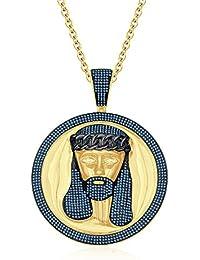 "Silvernshine Men's 1.40 Ct Round Aquamarine Jesus Face Pendant 18"" Chain In 14K Yellow Gold Fn"