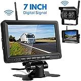 Directtyteam Caméra de Recul Voiture sans Fil, Caméra de Voiture Numérique Caméra Etanche IP68 avec 7'' LCD Moniteur