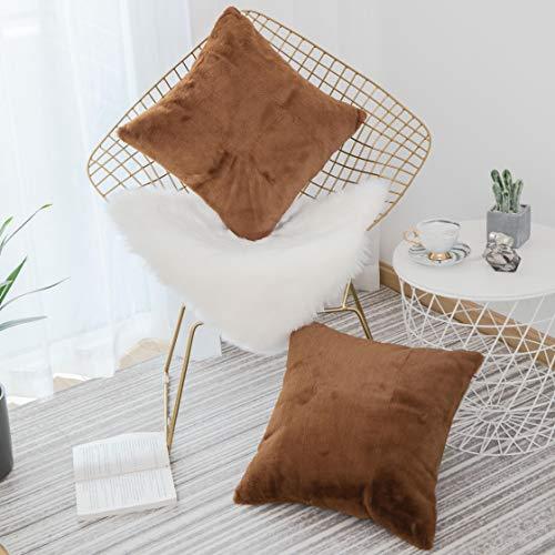 HOME BRILLIANT Solide Komfort-Streifen Cord Kissen Kissenbezug Modern 2 Packs, 18x18 Größe: S - braun -