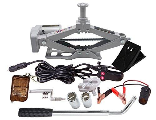 YASI MFG® Elektrischer Scherenwagenheber 2T 42cm SUV Doppelköpfe + Radmutternschlüssel und Handkurbel Elektrischer Wagenheber SUV 12V Grau