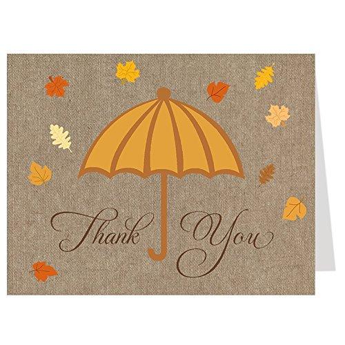 Thank You Karten, Bridal Dusche, Herbst, Orange, Gelb, Schokolade, Hochzeit, Falling Leaves, Braut, 50bedruckt Noten mit Umschläge, Dusche mit Love