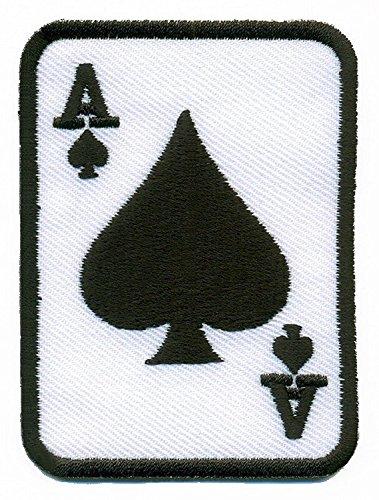 Kostüm Ace Of Hearts (ACE OF HEARTS Schwarz Anzug Spielkarte Poker RETRO Casino Biker Rat Pack Aufnäher Patches)