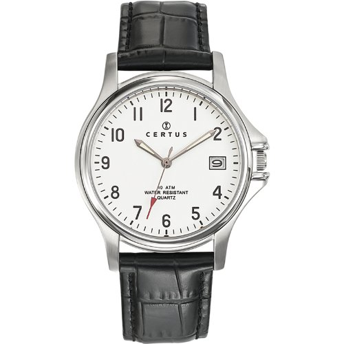 Certus 610397–Watch Men–Quartz Analogue–White Dial–Black Leather Strap