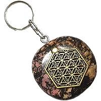 KRIO® - schöner Rhodonit als Schlüsselanhänger/Accessoire mit der Blume des Lebens Applikation preisvergleich bei billige-tabletten.eu