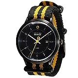 Daye/Turner Herren Uhr Analog Quarz mit Nylon Armband DT-76HD34BK-77ST