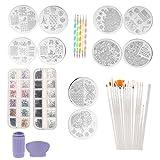 Sharplace Nail Art Set Incluye Pinceles para Uñas, Herramientas para Puntear Uñas, Pedrería, Plantillas para Estampado de Uñas con Set de Herramientas para Sellos y Raspadores