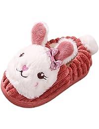EOZY Pantoufle Mule Chausson Sandale Slipper Peluche Lapin Enfant Fille Hiver Ménager