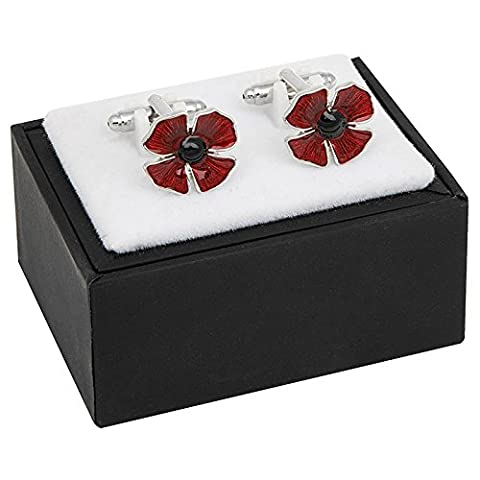 Poppy Cuff Links In Polished Stainless Steel & Enamel By Equilibrium For Men - A Quality Set Of Cuff Links (274407)