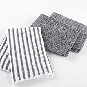 3 chiffons microfibre 40x40 CUISTOT anthracite