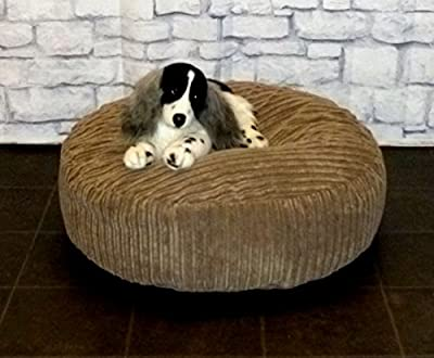 "Zippy Round Bean Bag Pet Dog Bed - 30"" diameter - Mocha Jumbo Cord Fabric - Beanbags"
