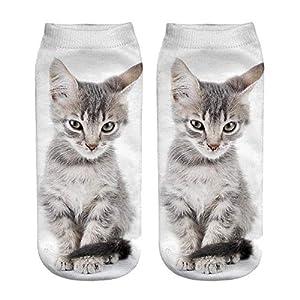 ☺Knöchelsocken Weihnachten Socken Lustige Sneaker Söckchen Unisex Sportsocken Baumwoll 3D Katze Gedruckt Atmungsaktiv Kurzsocken Boots Schuhe für Herren & Damen & Mädchen & Jungen 1 Paar (H)