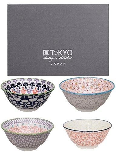 Tokyo Design Studio, Bol en porcelaine motif Baobab - Coffret de 4, Diamètre: 15.5cm