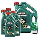 4x 1 L + 5 L = 9 Liter Castrol Magnatec 5W-40 C3 Motor-Öl inkl. Ölwechsel-Anhänger