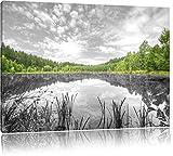 traumhafter See in grünem Wald schwarz/weiß Format: 100x70 auf Leinwand, XXL riesige Bilder fertig gerahmt mit Keilrahmen, Kunstdruck auf Wandbild mit Rahmen, günstiger als Gemälde oder Ölbild, kein Poster oder Plakat