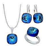 Crystals & Stones - NEUHEIT SQUARE - GROSS Schmuck-Set - Farbe Varianten - Silber 925 Schön Damen Schmuckset mit Kristallen von Swarovski Elements - Schmuckset mit Geschenkbox (Bermuda Blue)
